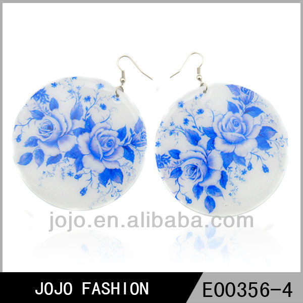 White ceramic Fashion Statemnet Earrings with printing flower