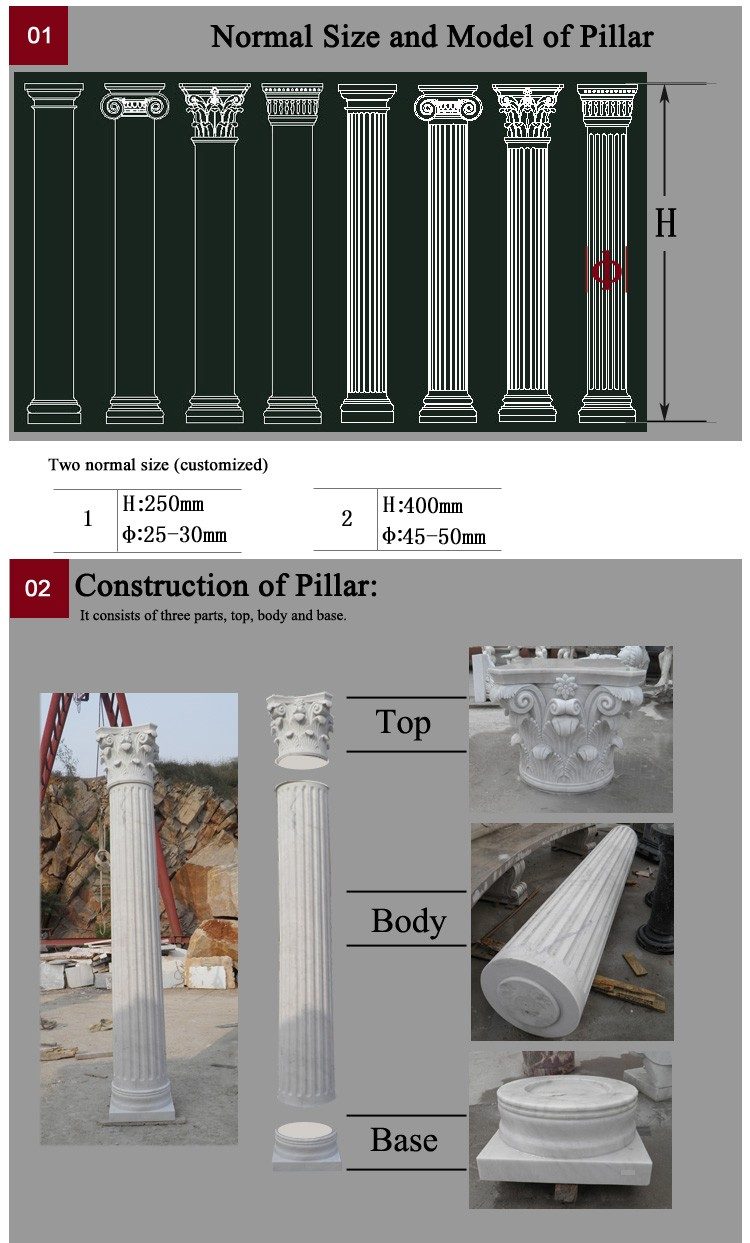 Exquisite Hand Carving Marble Pillar  Column Mold For Sale