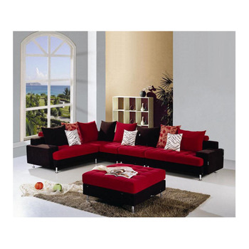 Red And Black L Shaped Fabric Sofa Set
