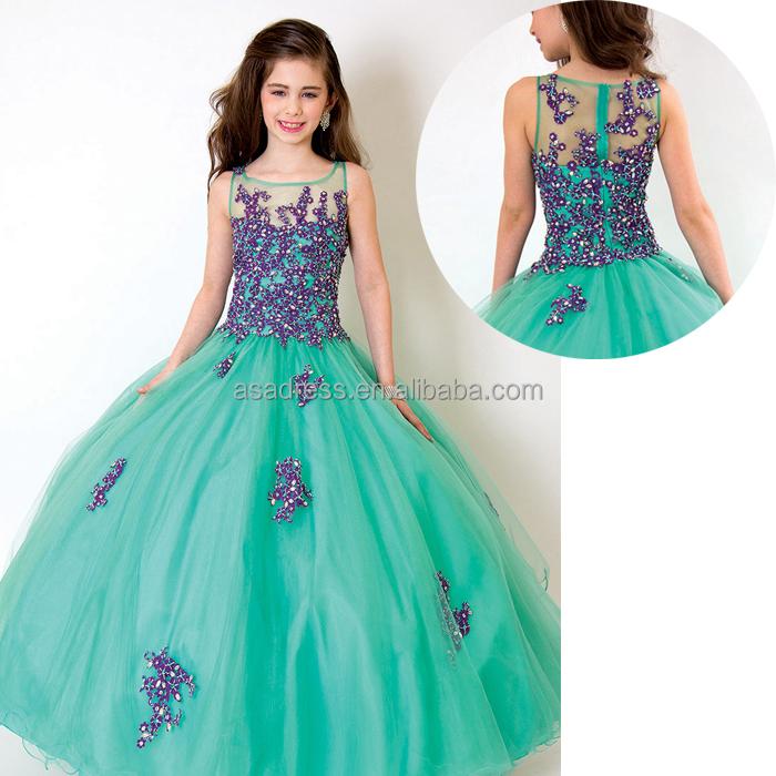 Rapd40 Stunning Modern Appliqued Kid Party Dress Ball Gown Purple Fascinating Flower Girl Dress Patterns