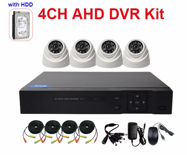 Boshen HD 720P 960P 1080P 4CH AHD Dome CCTV Cameras Set with 5 IN 1 XVR Hard Drive