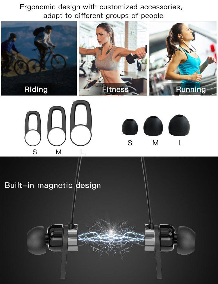 in-ear design sport magnetic tws stereo bluetooths neck earphone wireless headphone
