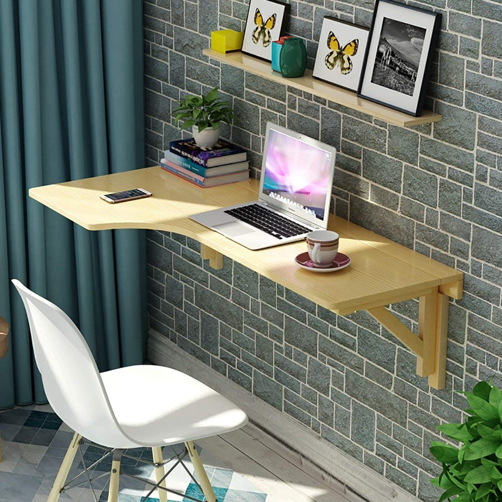 WSSF- Wall-mounted Folding Table L-shaped Corner Drop-leaf Dining Table Computer Desk Solid Wood Study Table Writing Desk Collapsible Wall Table Size Optional (Size : 12060cm)