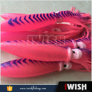 Marine Fishing Parts Pink Blue Vein 9inch Bulb Squid For Trolling Squid Rig