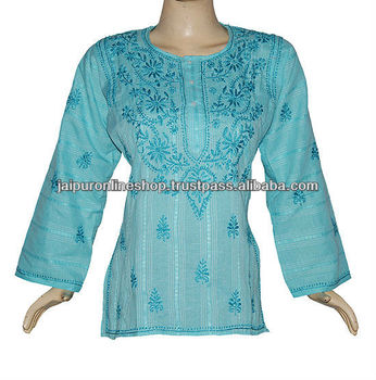 fancy embroidered kurtis, chikan embroidered kurtis