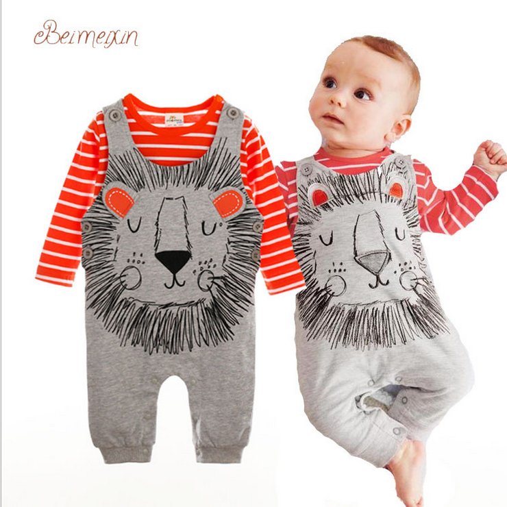 12dcc8901c8d Get Quotations · Baby romper 2015 newborn bebe overalls + T-shirts 2pcs    set sleeve gentleman rompers