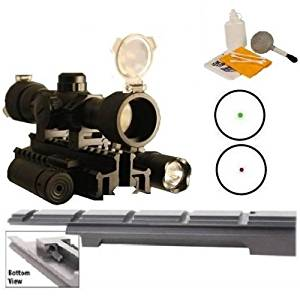 "Ultimate Arms Gear Enfield Rifle Scope Sight Model .303 NO.1 MK3 Weaver Picatinny Rail Mount + ""CQB"" Illuminated Red & Green Dot Scope + Flashlight Light + Laser + Tri Weaver Picatinny Rail See Thru Mount- Includes Pressure Switches, Rings, Batteries, Flip Up Lens Caps & Lens Cleaning Kit - Combo"
