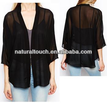 Fashion Black Chiffon Kimono Ladies Cardigan - Buy Jersey Kimono ...
