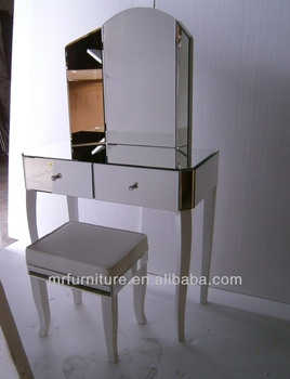 White Legs Venetian Mirrored Dressing Table With Folding Mirror From ...