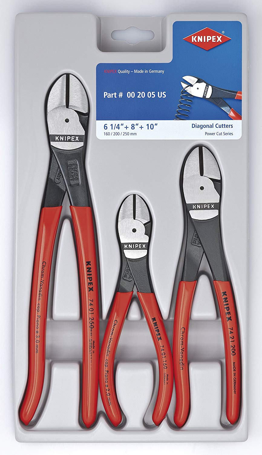 17f5d186123a Get Quotations · KNIPEX Tools Knipex 002005S2 High Leverage Diagonal Cutter  Pliers Tool Set - 3 Piece
