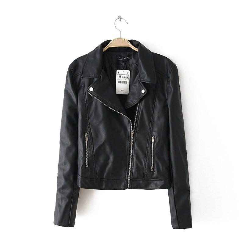 2015 New Autumn Winter Women Motorcycle Pu Leather Black Jackets Sequin Skull Blazer Coats Long Sleeve Drop Shipping