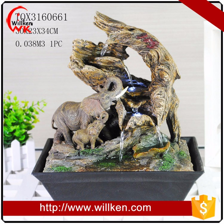 Resin lighted indoor tabletop water fountain for sale