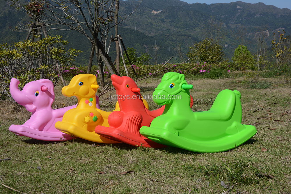 Family preschool equipment plastic rocking horse toy for children playground spring rocking horse