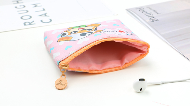 custom girl zipper mini leather cat wallet coin purse accept with zipper