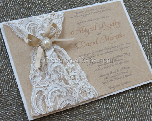 Rustic Burlap And Lace Wedding Invitation Ivory Invitation With ...