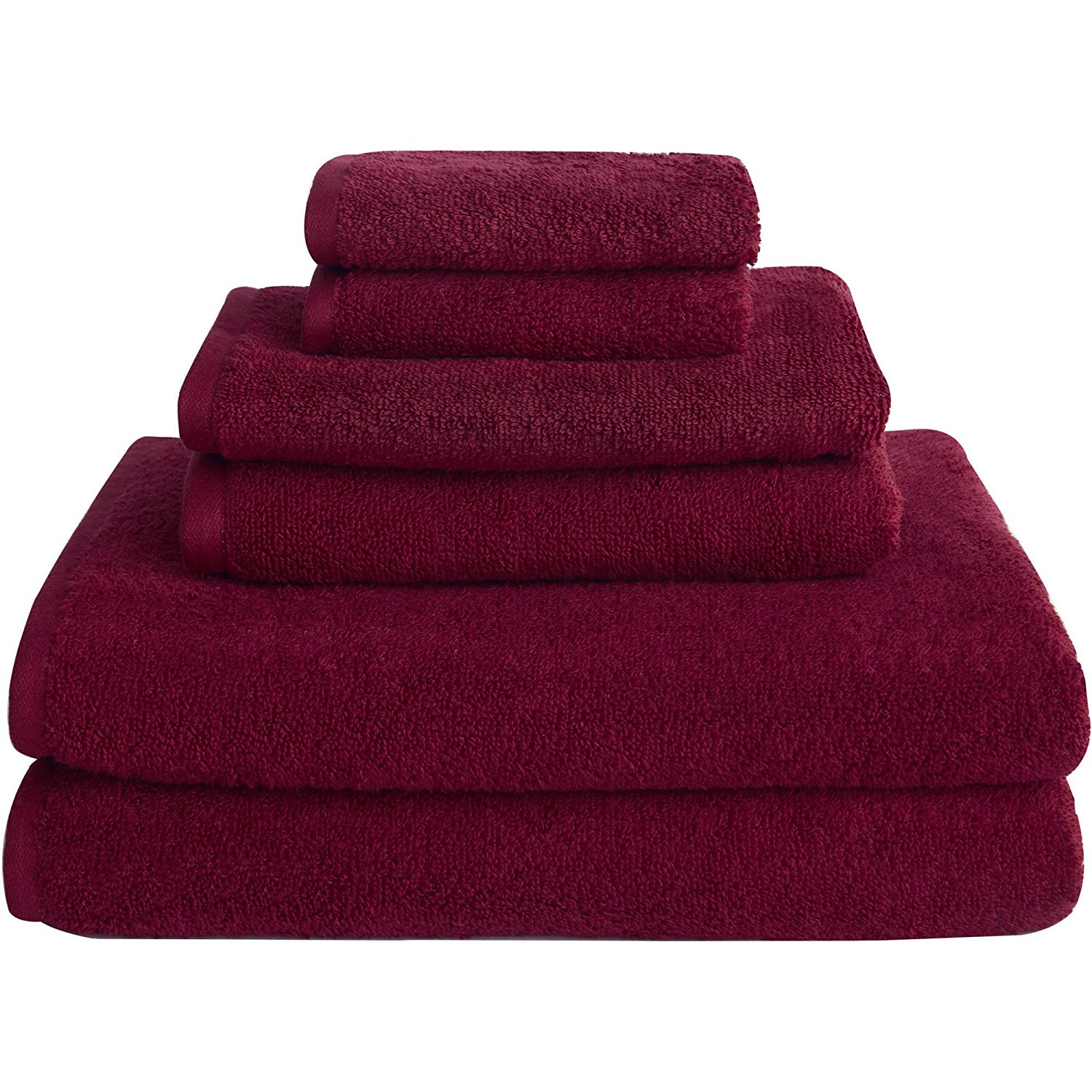 6 Piece Biking Red Solid Color Towel Set With 30 X 54 Inches Bath Towels, Dark Red Soft Cotton Loops Low Twist Yarn Quick Dry Absorbent Comfortable Luxurious Towels, Cotton Blend Polyester