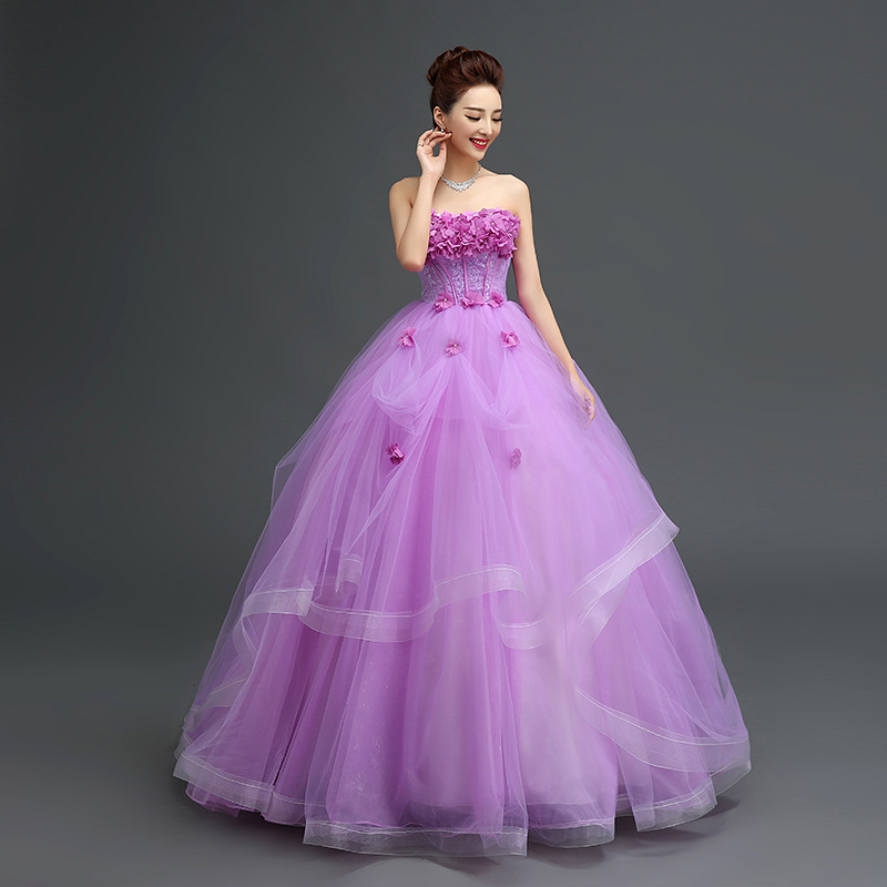 7df3a849998 Spring New Arrival Flower Lace-Up Princess Prom Dress Puffy Purple Ball gown  Wedding Dresses