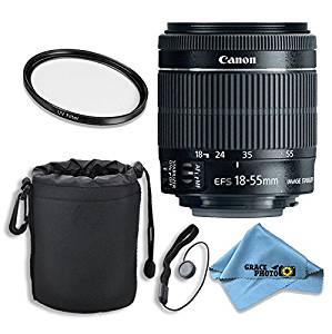 Canon EF-S 18–55mm f/3.5–5.6 IS STM Lens Kit for Canon DSLR Cameras with Accessories - International Version (No Warranty)