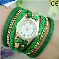 2015 New Colorful Multilayer Rivet Leather Band Wrap Bracelet Wrist Watch Women WW003