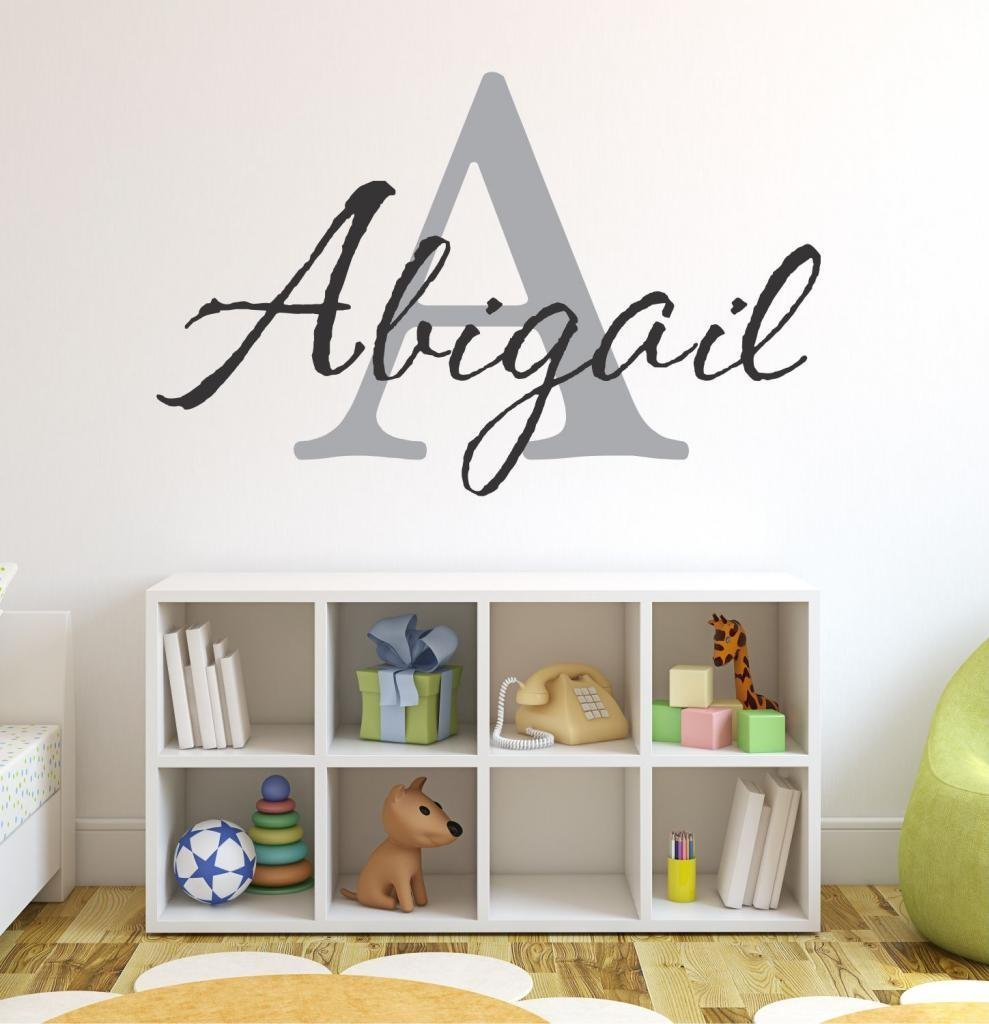 """Baby Girl Initial Personalized Custom Name Vinyl Wall Decal 20"""" W by 12"""" H, Girl Name Wall Decals, Wall Decal, Name Wall Decal, Nursery Name Decal, Girls Names, PLUS FREE WHITE HELLO DOOR DECAL"""