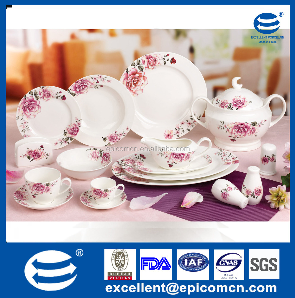 luxury fine bone china square Turkish porcelain dinnerware sets with royal elegent design for 4  sc 1 st  Excellent Porcelain Co. Ltd. - Alibaba : fine bone china dinnerware sets - pezcame.com