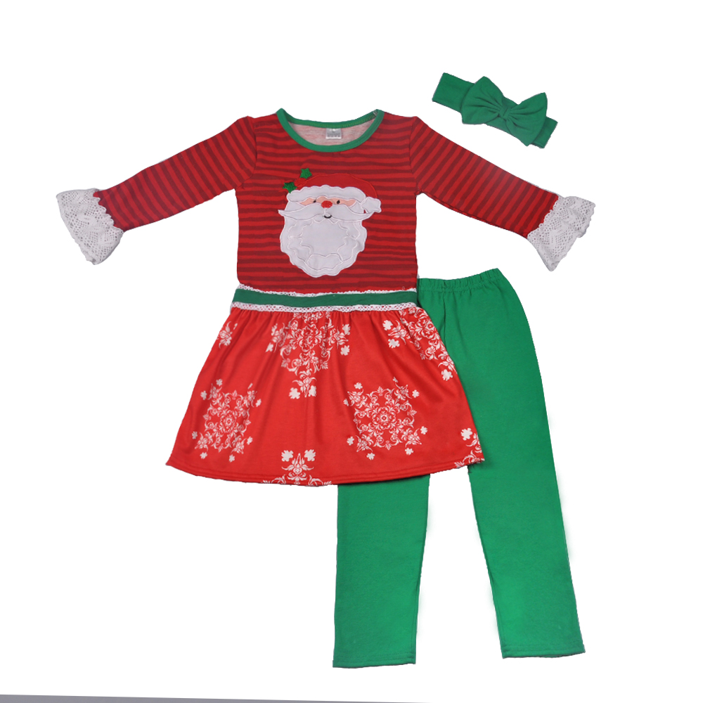 wholesale Winter baby girl outfits Christmas Santa Claus girls boutique outfits