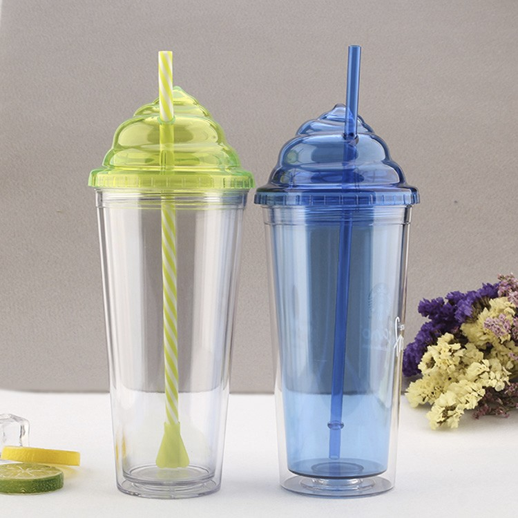 Shenzhen manufactured 20oz double wall AS straw cup with ice cream shape lid
