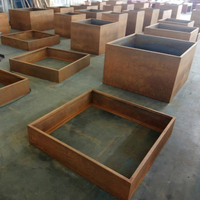 Corten steel raised garden bed for vegetable flower planter edge