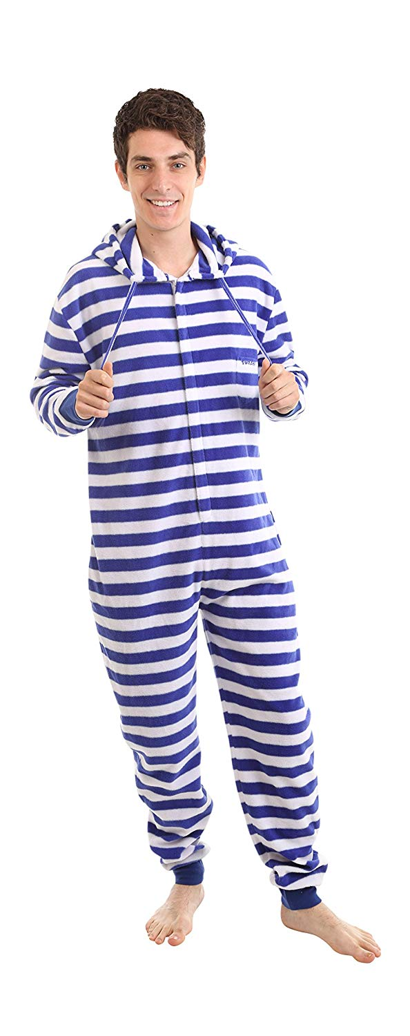94bd819269 funzee Adult Onesie Pajamas Not Footed Blue White Stripe Jumpsuit XS-XXL ( Size by