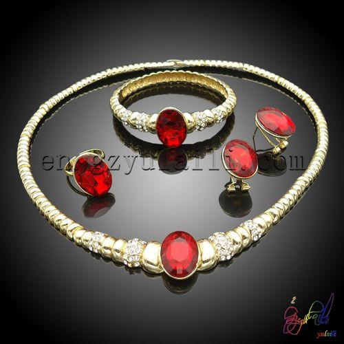 dubai joyas de oro plateado 2 gramos bisutería conjunto con piedra roja joyería de moda conjunto
