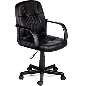 Get Quotations · Black Leather Comfort Products Adjustable/swivel Home  Office Ergonomic And Executive Desk Chair With Arms