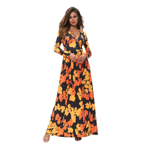 2018 Fall Winter Trendy Clothes Long Maxi Day Dress Casual Autumn Floral Printed Maple Leaves Dresses