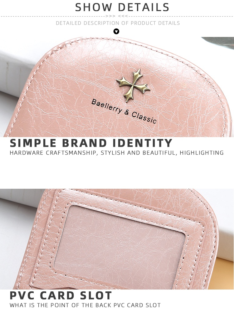 Baellerry 2019 Semicircle Ultrathin PU Leather Short Wallet For Women With Hasp,Lady Coin Purse wholesale