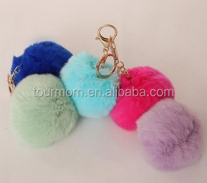 2016 new iteam customize Fashion Colorful Fluffy Ball Keychain / Rex Rabbit Fur Ball