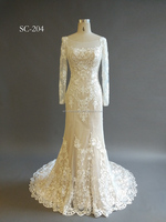 New Fashionable Special Design lace overlay mermaid Round Neckline wedding dress