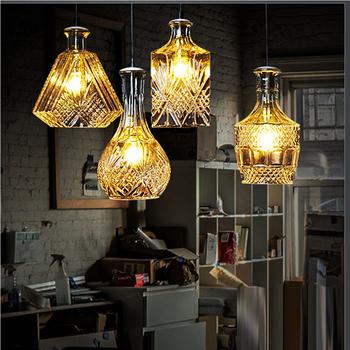 Russian Rural Style Simple Chandelier Lighting Clear Wine Bottle Gl Pendant Light For Bedroom