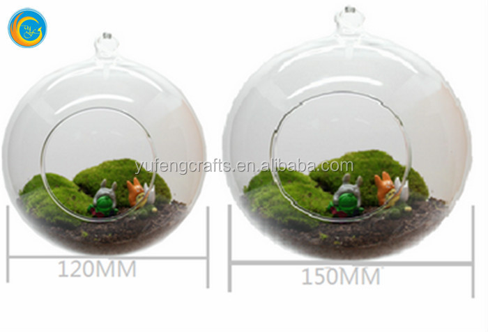 adornos de vidrio maceta,de pie de metal bola de cristal claro