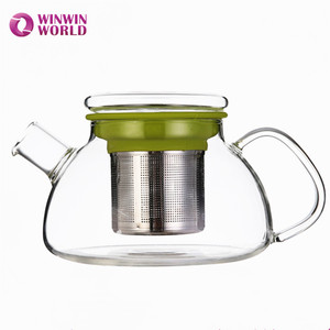 Customized Wholesale Heat Resistant Borosilicate Glass Tea Pot With Tea Infuser