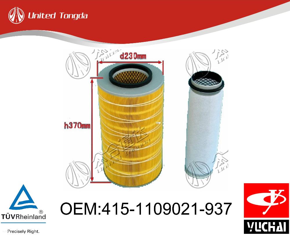 415-1109021-937 Original Yuchai Engine Air Filter For Chinese ...