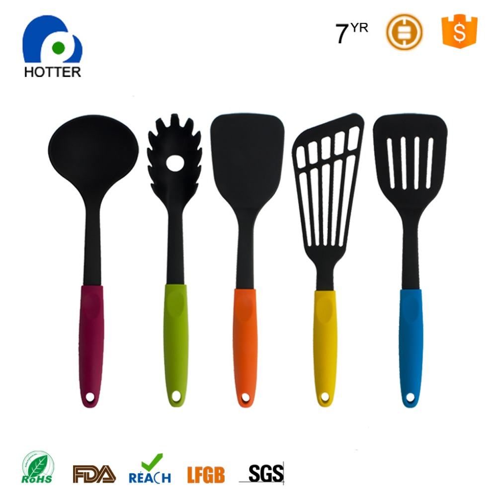 Nylon Kitchen Utensils Cooking Set with Silicone Handle Includes 5 Pieces Tool and Gadget Accessories