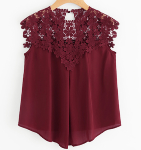 Women Sleeveless Chiffon Shirt New Summer Sexy O-Neck Casual Camisole Ruffled Vest Keyhole Back Daisy Lace Cap Shoulder Crop Top