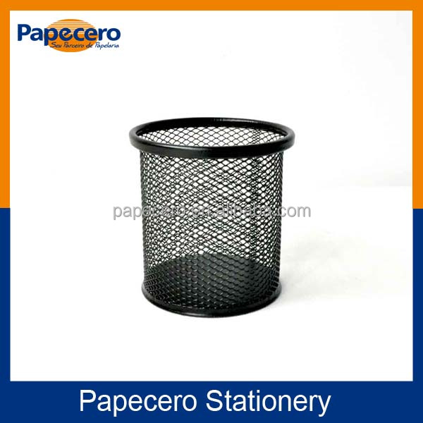 School and Office Stationery Round Wire Mesh Metal Pen Holder/Pencil Cup