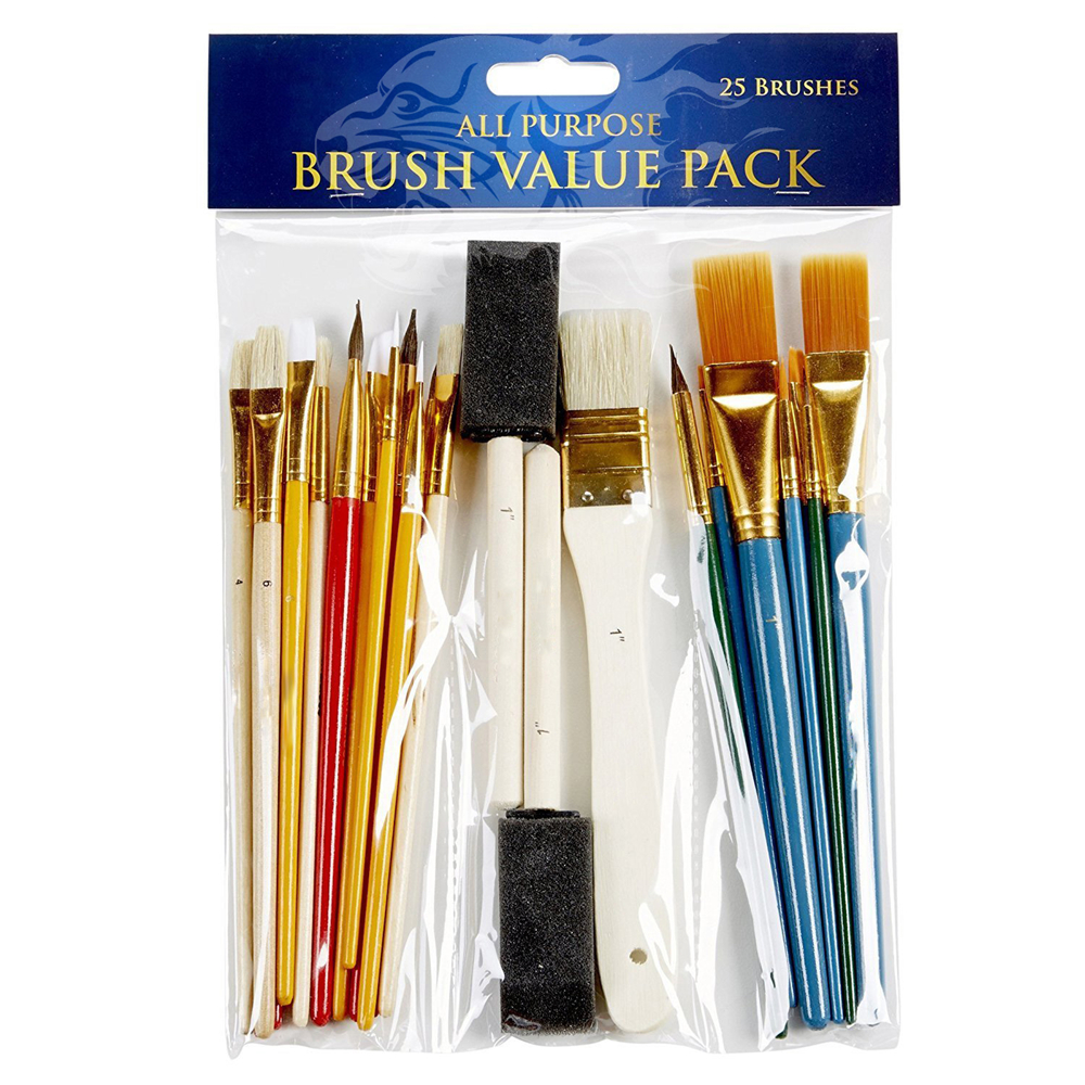 Office & School Supplies Super Value 24pcs Mix Size Oil Acrylic Brush Se With Canvas Bag Long Wooden Handle Multifunction Brush Art Supplies Painting Supplies