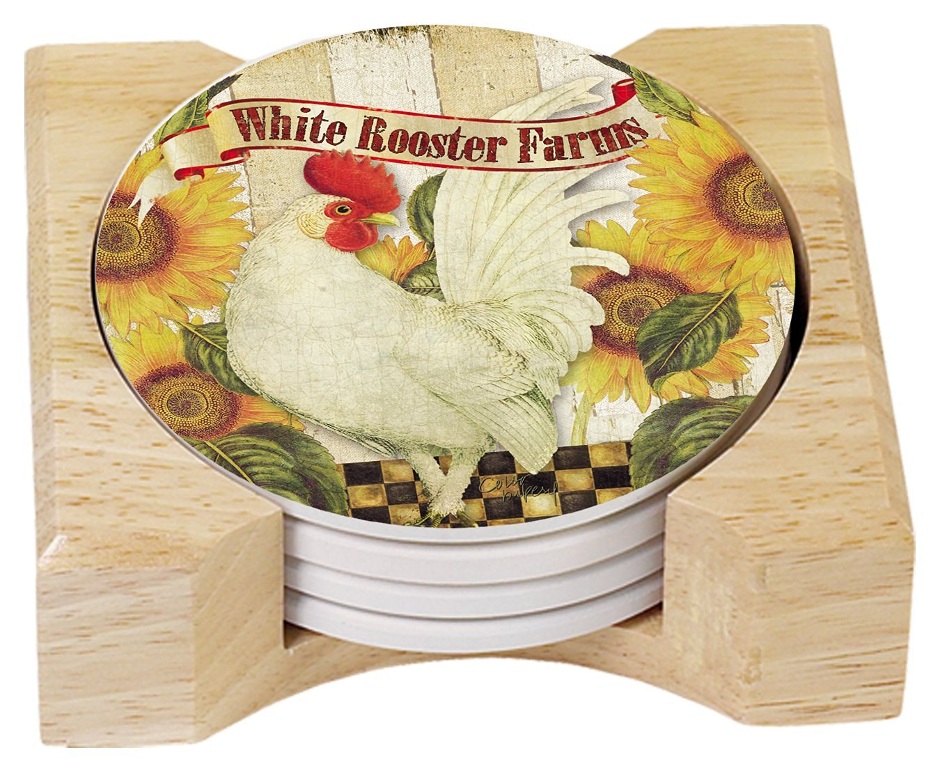 CounterArt Absorbent Coasters in Wooden Holder, Farmland Rooster, Set of 4
