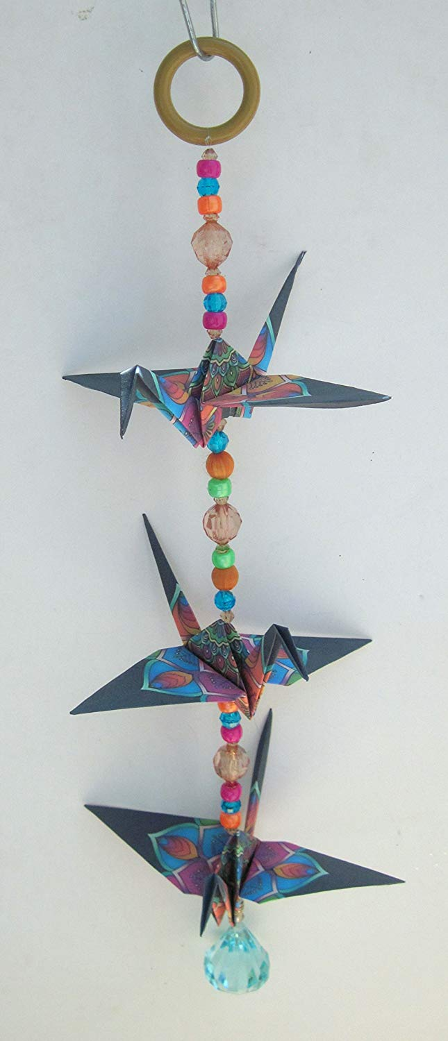 "Good Luck colorful design crane mobile for indoor decor. approx. 15"" high and 5.5"" wide. A unique handmade origami accent piece."