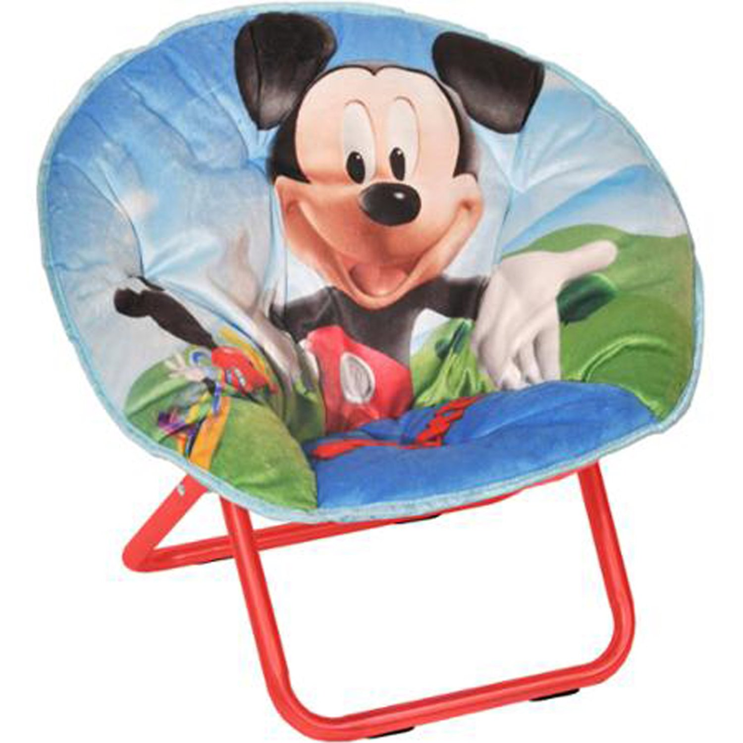 Mickey Mouse Mini Saucer Chair Multicolor Toddler Kids Seat Portable  Character Comfortable Seating Saucer Shape Sturdy