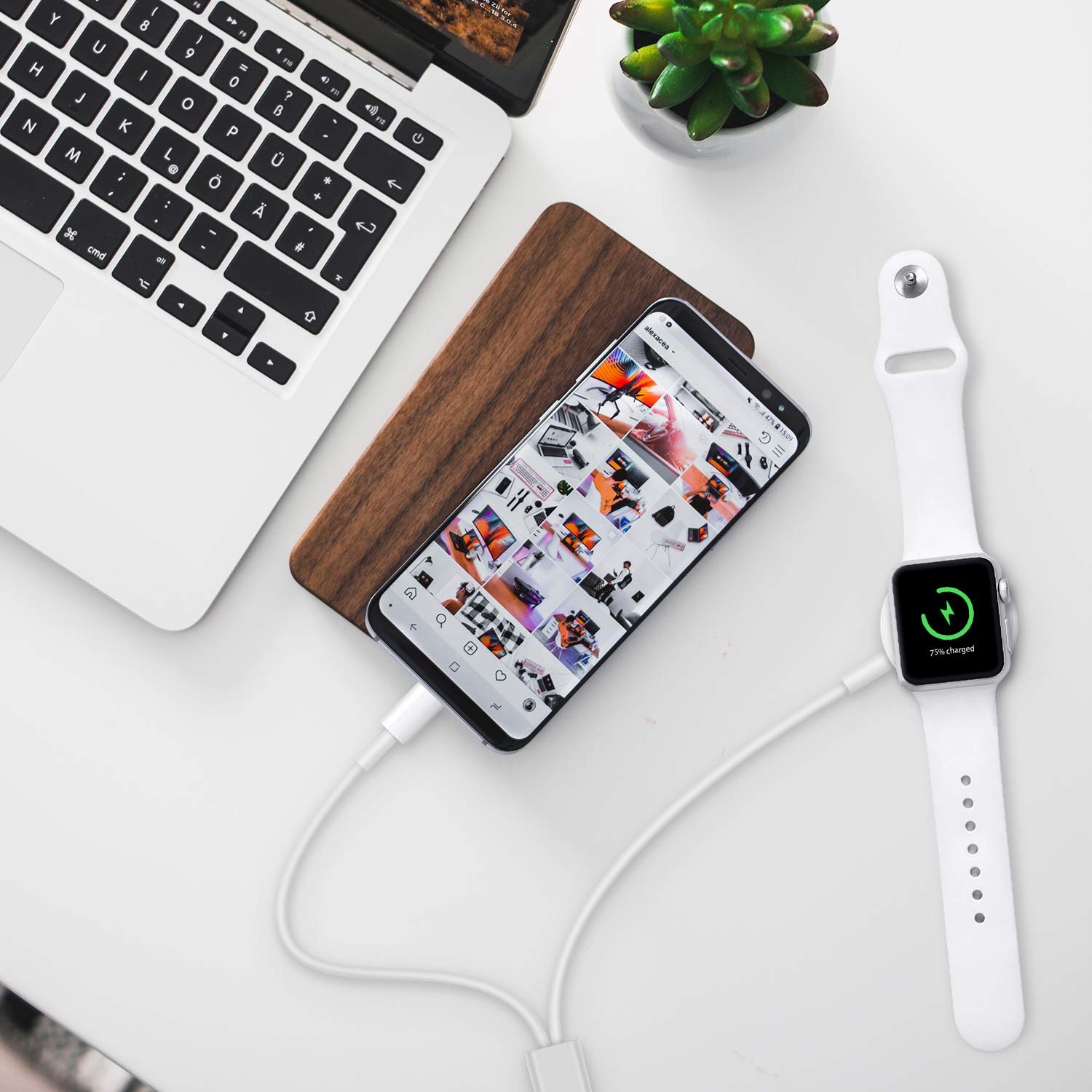 Kompatibel dengan Apple Watch IWatch Charger 2 In 1 Charger Telepon