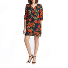 Clothing manufacturers OEM wholesale woman casual Multicolor V Neck Rose Floral Print long Split Sleeve chiffon Tunic Dress