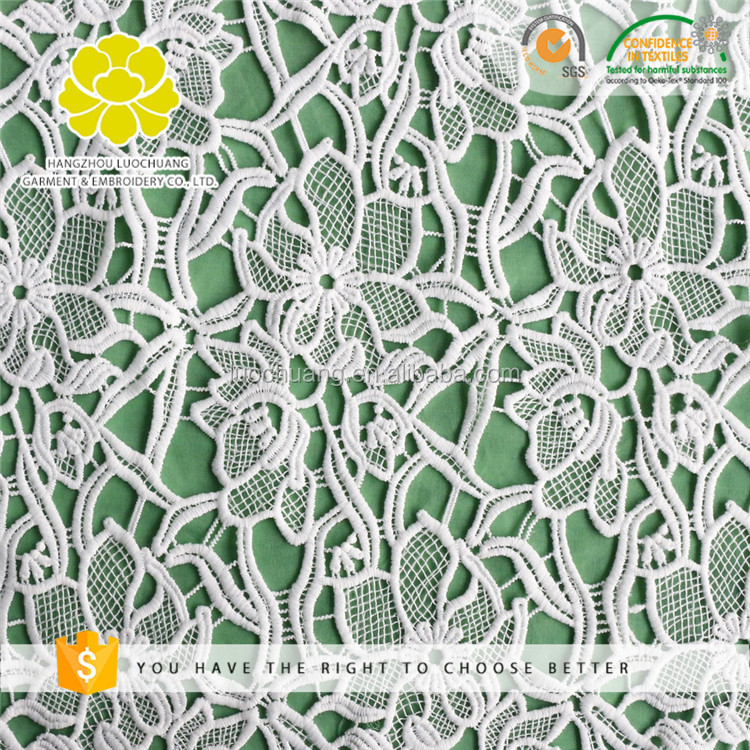 B25398 Promotional Eco-Friendly Embroidery Water Soluble Chemical Lace Polyester Fabric