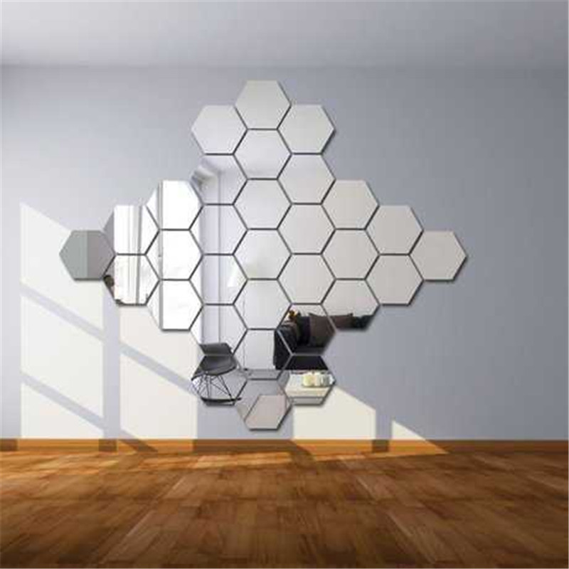 6 stks/set XXL Hexagon Spiegel Muurstickers 3D Acryl Gespiegeld Decoratieve Sticker Waterdicht Home Decor custom stickers